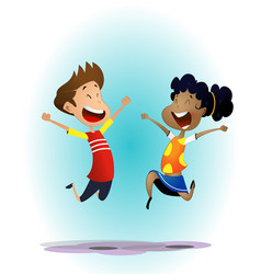 happy cartoon school multiracial children vector image