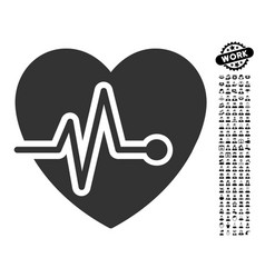 Heart pulse icon with men bonus vector