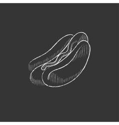 Hotdog Drawn in chalk icon vector