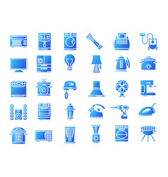 Household devices and appliance solid icons vector
