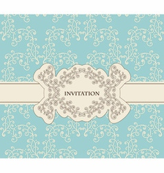 invitation on floral frame and seamless floral vector image