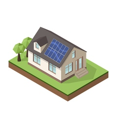 Isometric house 2 sun batteries vector