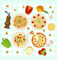 italian food dishes vector image