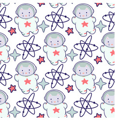 kawaii cat astronaut in space seamless pattern vector image