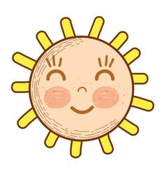 Kawaii happy sun with close eyes and cheeks vector