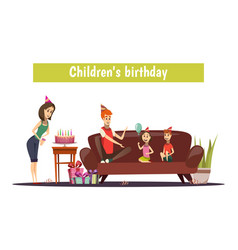 kids birthday composition vector image