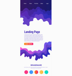 Landing page design template wave origami paper vector