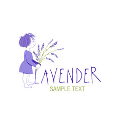 little girl with lavender bouquet logo design vector image