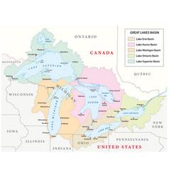 map great lakes basin vector image