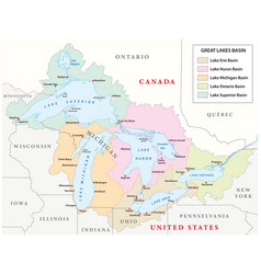 Map of the great lakes basin vector