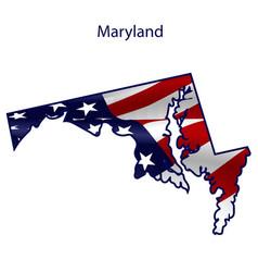 Maryland full american flag waving in wind vector