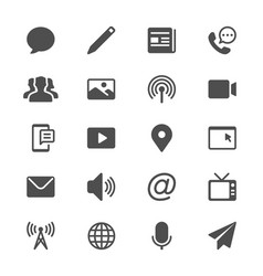media and communication glyph icons vector image vector image