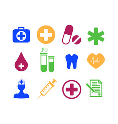 Medicine and health flat icon set vector