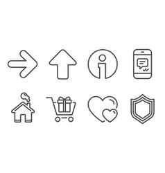 Message next and shopping cart icons hearts vector