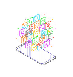 modern smartphone with cloud mobile apps over vector image