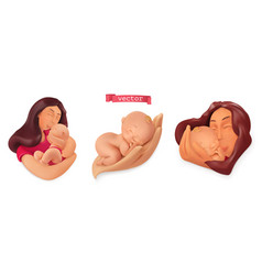 Mothers day baby care 3d icon set plasticine art vector