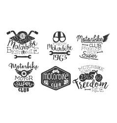 motorbike club retro labels set freedom ride hand vector image