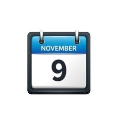 November 9 calendar icon flat vector