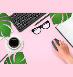 office background with coffee notebook glasses vector image