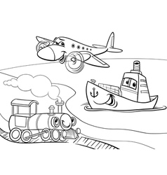 Plane ship train cartoon coloring page vector