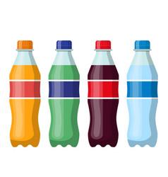 Plastic beverage bottles icon set vector