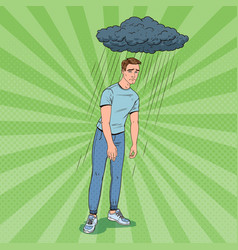 Pop art depressed young man under the rain vector