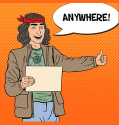 pop art hitchhiking hippie tourist vector image