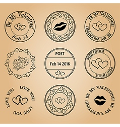 postage stamps for valentine day - black elements vector image