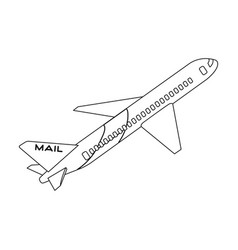 Postal aircraftmail and postman single icon in vector
