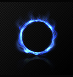 realistic blue fire circle ring blue fire vector image