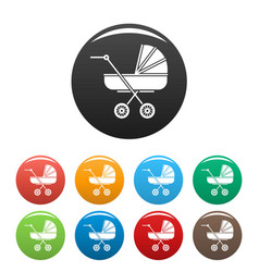 Retro baby carriage icons set color vector