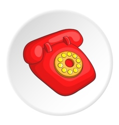 Retro red telephone icon cartoon style vector image