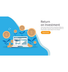 Return investment roi or growth business finance vector