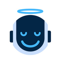 Robot face icon smiling angel face emotion robotic vector