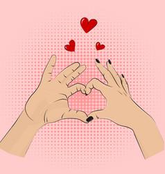 romance gesture sign pop art style women vector image