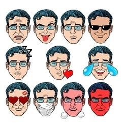 set emoji emotions men vector image