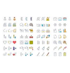 set flat line icons medicine vector image