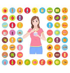 set food icons and woman eating yogurt dessert vector image