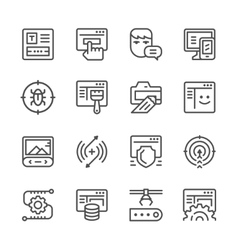 Set line icons of web development vector