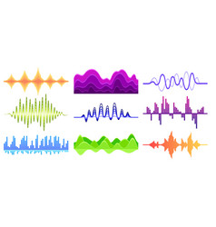 Set of different music waves sound pulse vector
