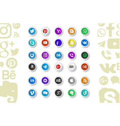 Set of popular social media icons vector