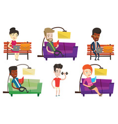 Set people during leisure activity vector