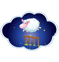 sheep jumping over the fence at night vector image