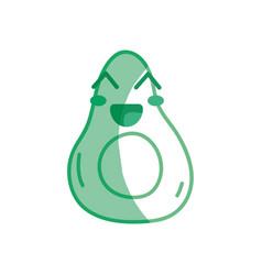 Silhouette kawaii cute happy avocado fruit vector
