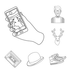 Style hipster outline icons in set collection for vector