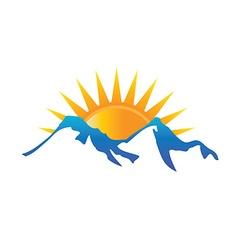 Sunshine in mountains logo vector