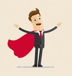 Super businessman in red cloak greeting vector