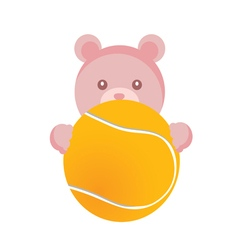 teddy with tennis ball vector image