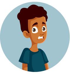 Teen boy cringe face expression cartoon vector