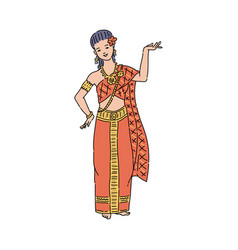 Thailand woman in traditional thai dress costume vector